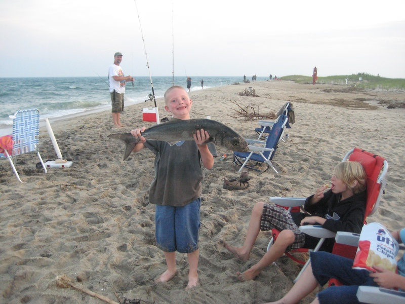 big bluefish, young boy